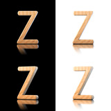 Three dimensional wooden letter Z. Isolated on white and black.
