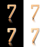Three dimensional wooden number 7. Isolated on white and black.