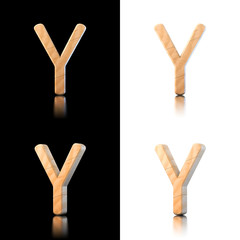 Three dimensional wooden letter Y. Isolated on white and black.