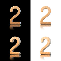 Three dimensional wooden number 2. Isolated on white and black.