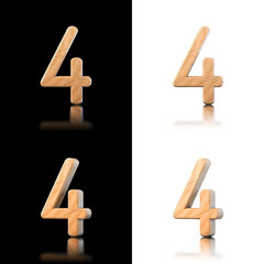 Three dimensional wooden number 4. Isolated on white and black.