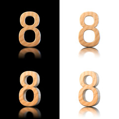 Three dimensional wooden number 8. Isolated on white and black.