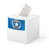 Ballot box with voting paper. Northern Mariana Islands