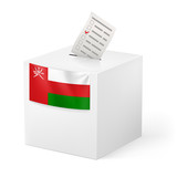 Ballot box with voting paper. Oman