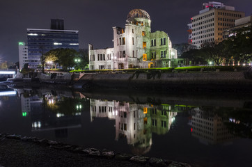 Night view Atomic Bomb Dome, the building was attack by atomic b