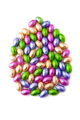 Mini chocolate eggs in foil shaped as an easter egg