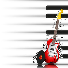 Music Vector Background with Electric Guitar, Vinyl and Piano