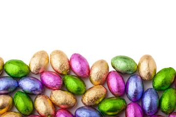 Mini chocolate eggs wrapped in colourful foil