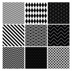 Seamless geometric hipster background set. black and white
