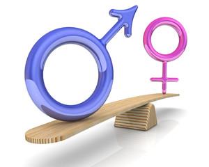 Символы мужского и женского пола на весах