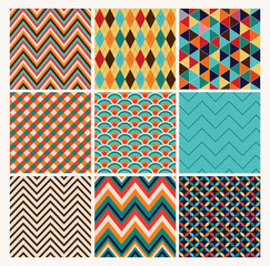 Seamless geometric hipster background set. Retro Patterns Vector