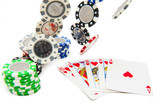 Royal flush poker hand with falling poker chips isolated on whit