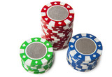 Poker chips stack isolated on white background