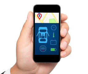 isolated man hand holding the phone with car alarm interface on