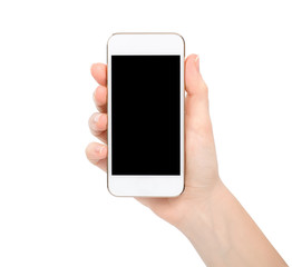 isolated female hand holding white touch phone