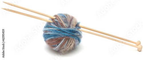 knitting wool ball isolated on white