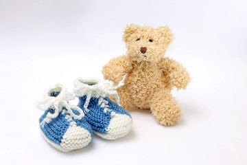 Gift for birth of boy - booties and teddy bear