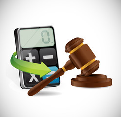 calculator and law hammer illustration design