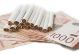 Thousand dinars bills and cigarette