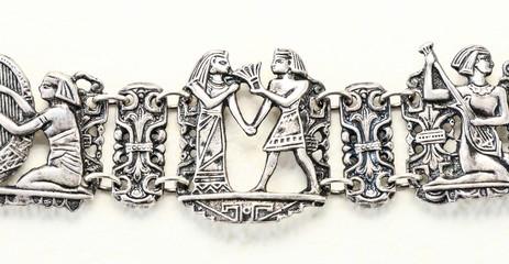 Women's silver bracelet macro