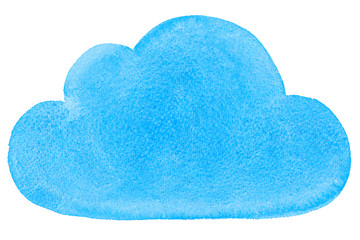 Watercolor Painted Social Networking Cloud Blue