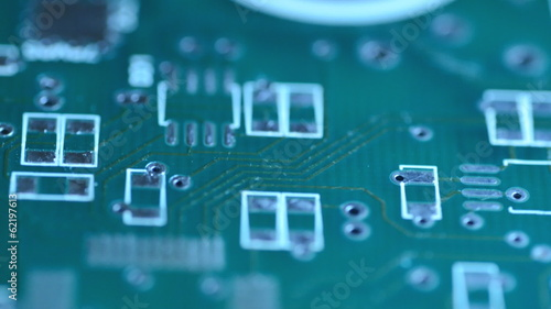 Silhouette of modern printed-circuit board, Motorized Dolly Shot