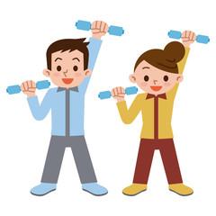 ダンベル体操をする若い男女