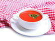 Tasty tomato soup, isolated on white