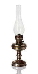 old, retro kerosene lamp isolated on white background