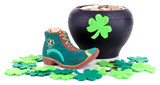 Saint Patrick day boot, pot of gold coins and clover leaves,