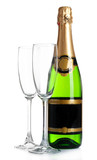 Bottle of champagne and empty glasses, isolated on white