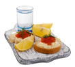 Sandwiches with caviar and vodka