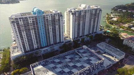 Aerial video Miami Beach waterfront buildings