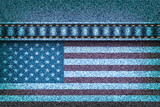 American flag on the jeans texture
