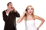 Wedding fury couple phone yelling, relationship difficulties poster