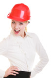 Engineer woman architect in red safety helmet isolated