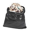 black garbage bag with trash isolated on white