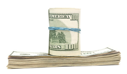 Hundred dollar bills rolled up with rubberband.