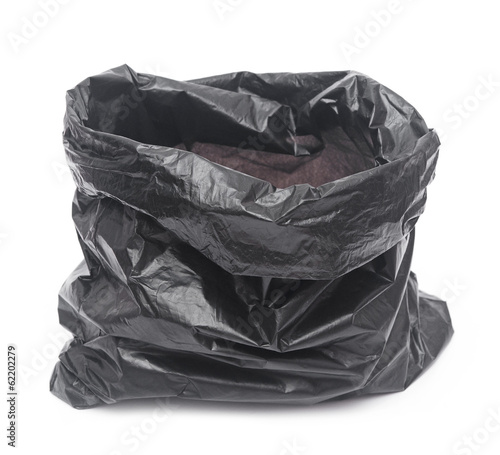 empty garbage bag on white background