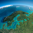 Leinwanddruck Bild - Detailed Earth. Europe. Scandinavia