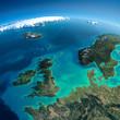 Leinwanddruck Bild - Detailed Earth. United Kingdom and the North Sea