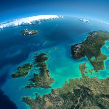 Gedetailleerde Aarde. Verenigd Koninkrijk en de Noordzee
