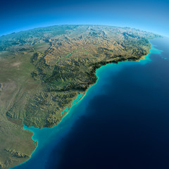 Detailed Earth. South America. Rio de La Plata