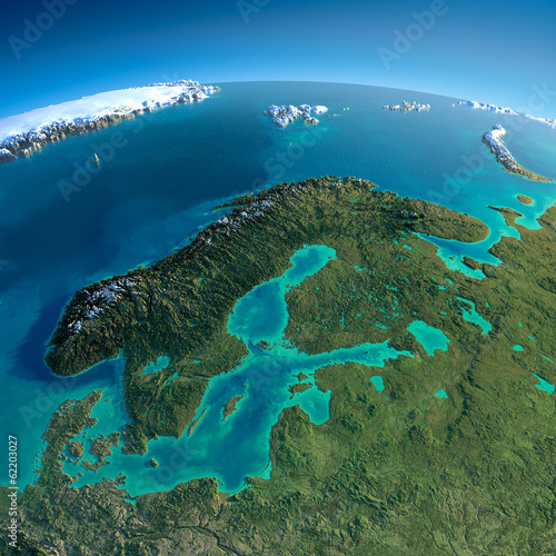 Leinwanddruck Bild Detailed Earth. Europe. Scandinavia