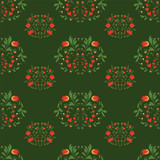 seamless patterns on green background.