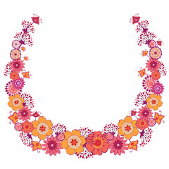 vector flowers decorative wreath, ornate celebrations