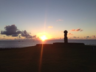 Sunshine light with Moai in Rapa Nui Easter Island