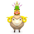 Front View Of Kadomatsu On Smile Sheep's Head