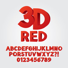Abstract Red 3D Plastic Alphabet and Numbers, Eps 10 Vector