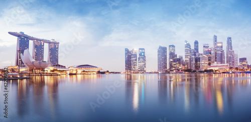 Aluminium Singapore Panoramic image of Singapore`s skyline at night.